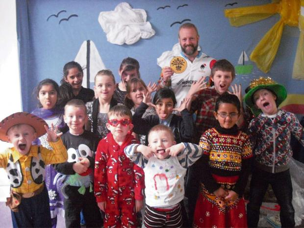 Children from Perry Wood Primary and Nursery School dressed up to raise £270 towards Alan Gale's Channel swim.