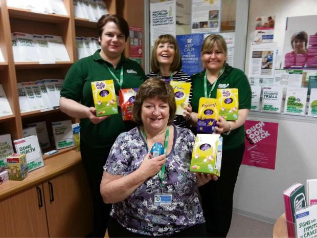Macmillan information and support services lead at Worcester Royal Hospital Kay Tandy and her volunteers