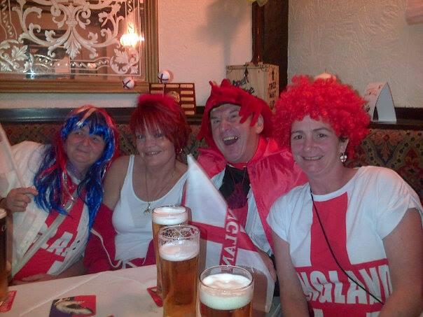 Worcester News: CELEBRATIONS: Lisa Smith, Christine Harborne, David Harborne and Joanne Harborne celebrating St George's Day