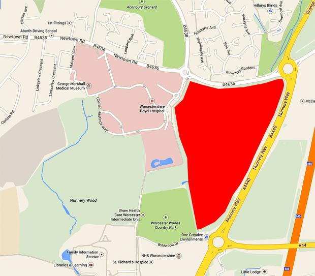 A map showing the land in question, off Newtown Road