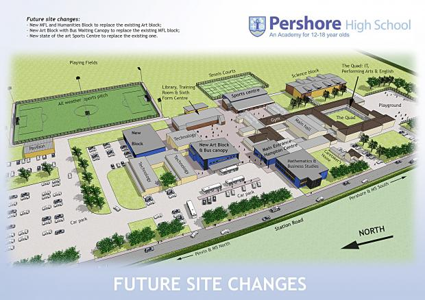 Worcester News: Plans drawn up for the future development of Pershore High School.