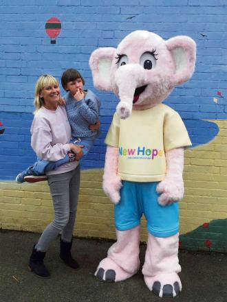 New Hope founder Jean Wilson with her daughter Emily and mascot Emily the Elephant (s)