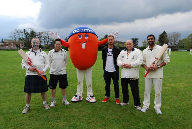 Don Barclay, Neil Hirons, Gareth Andrew, Clive Jordan, Tareq Jamil who helped to raise funds for Acorns Children's Hospital with a charity cricket match.