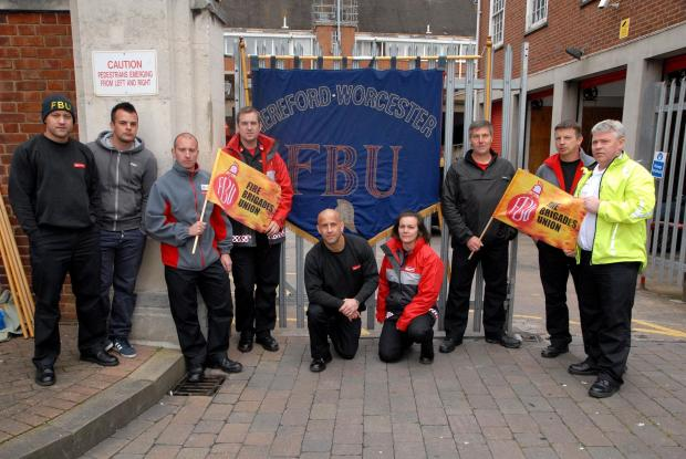 Firefighters are among the workers going on strike in Worcestershire today.