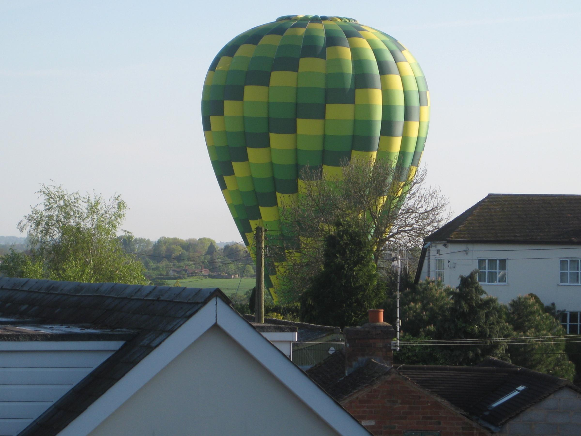 The air balloon landed in Lower Broadheath on Saturday morning. Picture by Dag Smith (s)