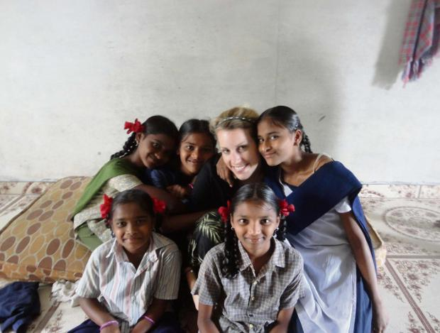 Worcester News: Lucy Miller with some of the children at the orphanage.