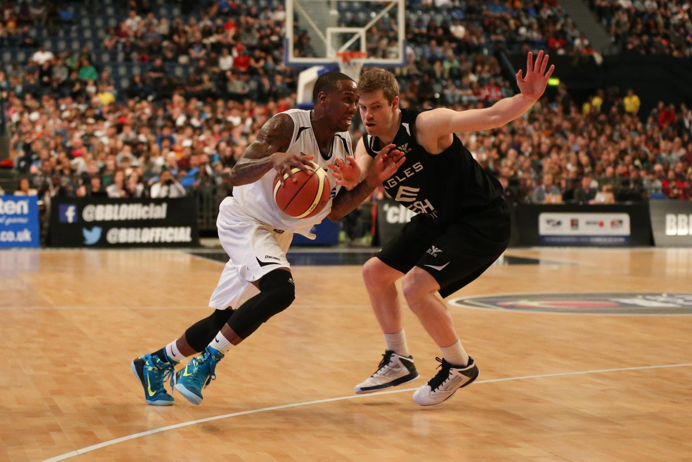 SUCCESS: Worcester Wolves captain Alex Owumi in possession against Newcastle Eagles.