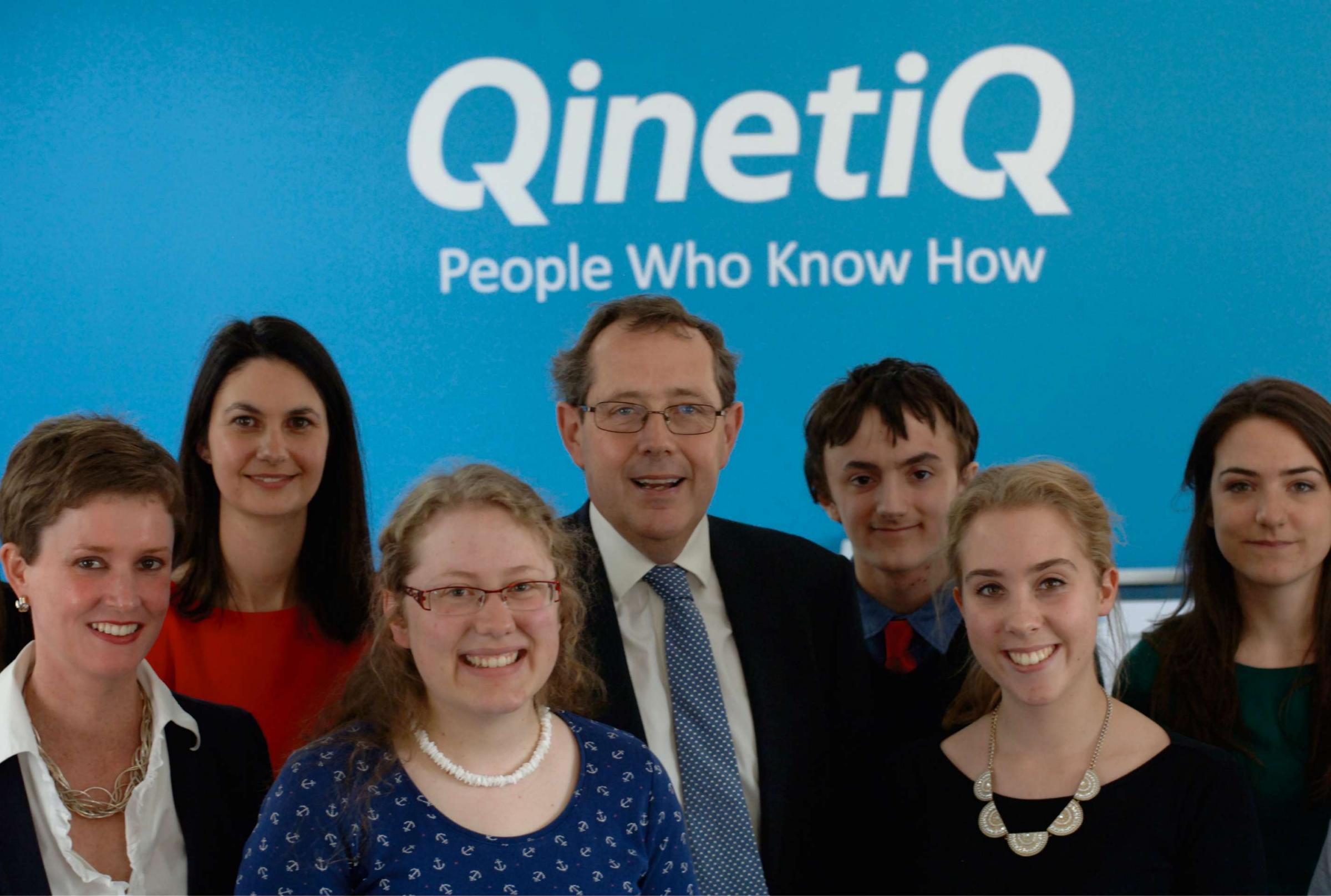 Sir Peter Luff MP meets QinetiQ graduates and students from The Chase School currently on placement with QinetiQ. Dr Mary Haigh, Head of Cyber Defence at QinetiQ, is on the far left.