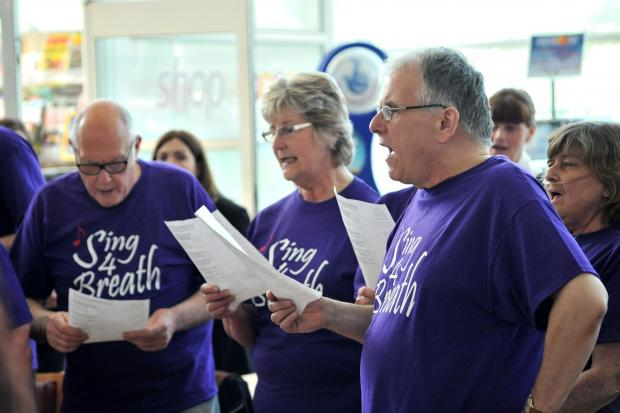 Worcester News: Members of the COPD Choir entertain patients, staff and visitors at Worcestershire Royal Hospital. Pic Jonathan Barry 15.5.14  201459906 (6253969)