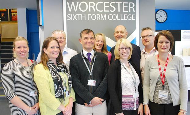 Back Row: Andrew Haynes, pastoral tutor, Julie Ferman, head of year, Ian Birth, assistant Principal, Graham Williams, head of year. Front Row: Sian Robinson, Becky Hanson, Guy Briere-Edney, Miriam Symmons, pastoral tutors at Worcester Sixth Form College,