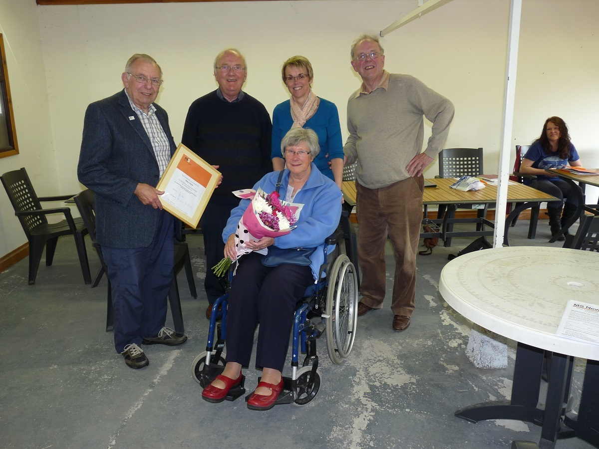 Neil Bowen from the Worcester and District Multiple Sclerosis Society with former chairman Mike Clarke, his wife Jean (seated) and joint chairmen Kerry Godwin and Mike Hawkins.