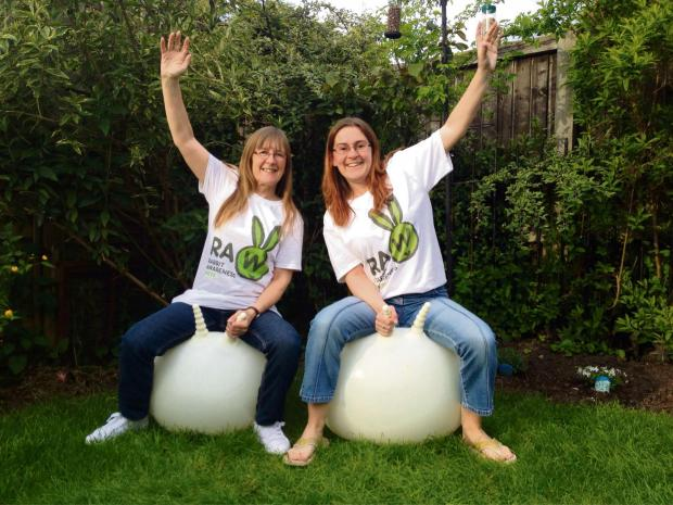 SPRING IN THEIR STEP: Margaret Layland and Saira Powell brought a bit of bounce to Rabbit Awareness Week (s)
