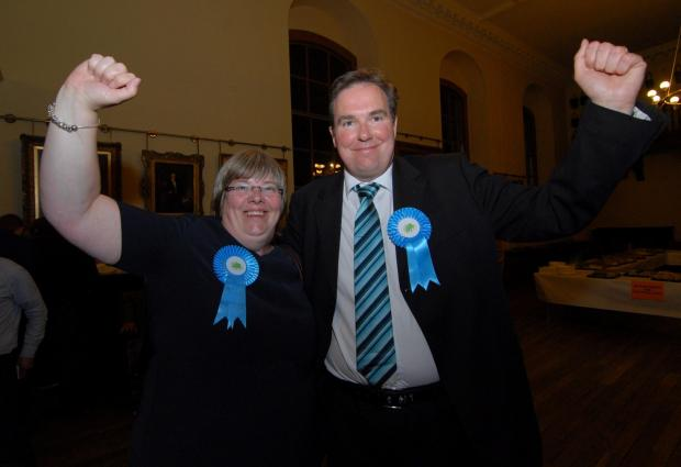 Worcester News: Worcester City Council Election at the Guildhall. Left to right - Councillors Lucy and Stephen Hodgson celebrate the latter's victory. Picture by Nick Toogood. (6475219)