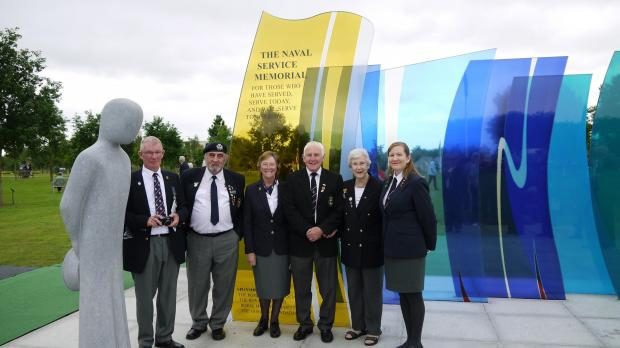 Members of Pershore and District RNA in front of the memorial after the ceremony on Sunday (s)