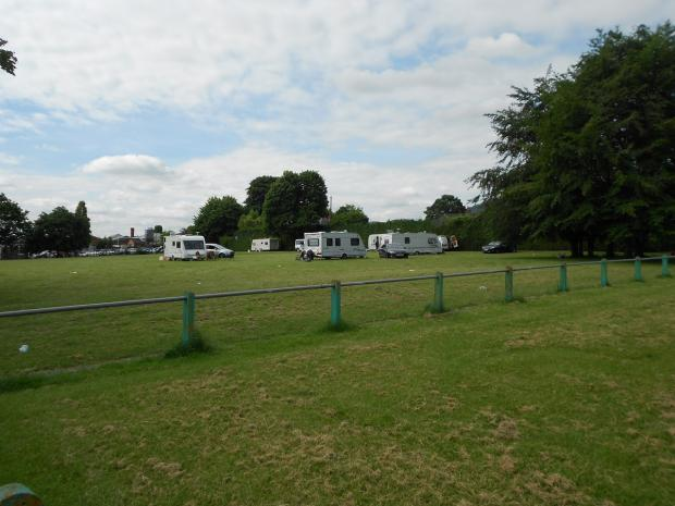 COMPLAINTS: Local people are uneasy about travellers pitching up at Victoria Park in Malvern Link