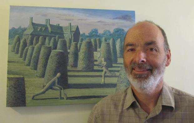 Ian Gibson with his painting Tennis Topiary
