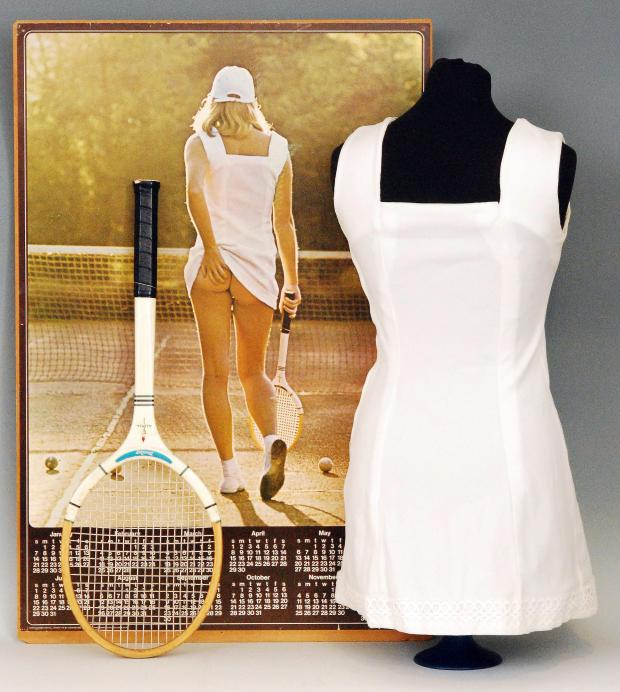Worcester News: Undated Fieldings Auctioneers Ltd handout photo of the famous Tennis Girl poster, as the white summer dress from the 1970s is to be auctioned. PRESS ASSOCIATION Photo. Issue date: Wednesday June 25, 2014. The unique handmade dress with lace trim was made