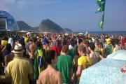 FOOTBALL CRAZY: Brazil fans on Copacabana Beach