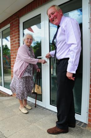 Celebrations: June Sayce opens the new extension on her birthday with chief executive David Strudley (s)