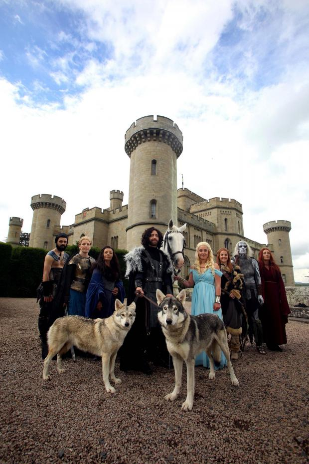Worcester News: I DO: Brian Crump, as Khal Drogo, Sam Crump, as Brienne of Tarth, June Thurston, as Lady Catelyn Stark with groom Darren Prew in costume as Jon Snow and bride Kerry Ford in costume as Daenerys Targaryen along with Carey McKeown, as Ygritte, Mike McKeown,