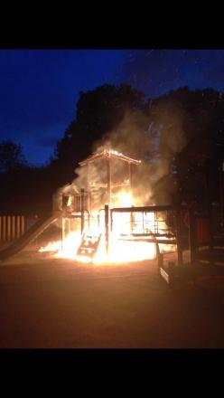 Crews called to fire at Lido Park in Droitwich. Picture by Mathew Mason.