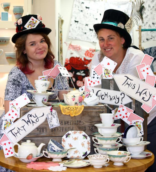 Worcester News: Rexanna Kelly and Anna Brook from Iapetus get ready for the hat festival.