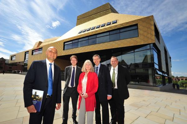 Sajid Javid, far left, outside The Hive in Worcester yesterday with city MP Robin Walker, Anna Hannaford, from the university, vice-chancellor Proff David Green and Cllr Adrian Hardman, county council leader