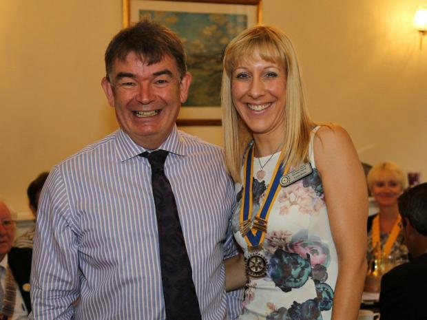 Worcester News: CLUB: Former president of Vigornia Rotary Club John Morgan with new president Linda Baylis. Picture by Mike Henley.