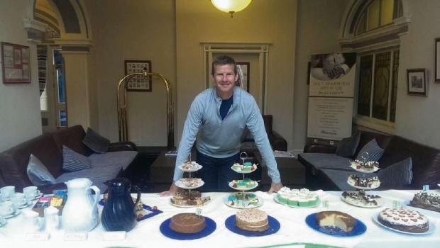 Steve Cram helped the team at the Worcester Whitehouse Hotel raise more than £100 for Macmillan Cancer Support