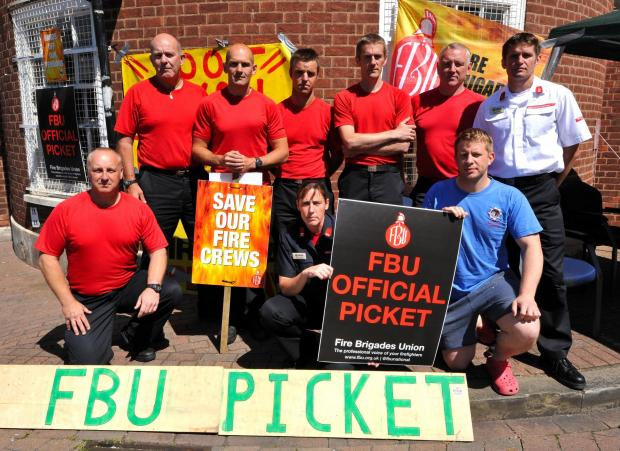 Members of the Fire Brigade Union at their picket at Worcester Fire Station on Thursday. Photo by John Anyon (2814647501).