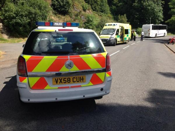 Road closed in West Malvern after motorcycle and coach in collision