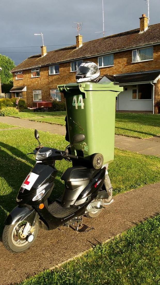 Worcester News: RIDE WHEELIE RIDE: A bin riding a moped