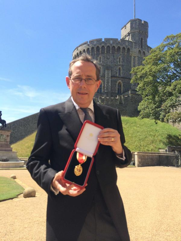 Sir Peter Luff collecting his knighthood at Windsor Castle