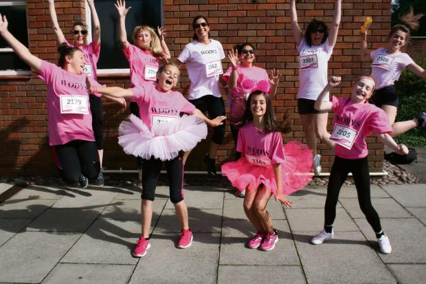 Think pink: WODYS jump for joy after supporting Race for Life. Picture by Marc Paterson (s)