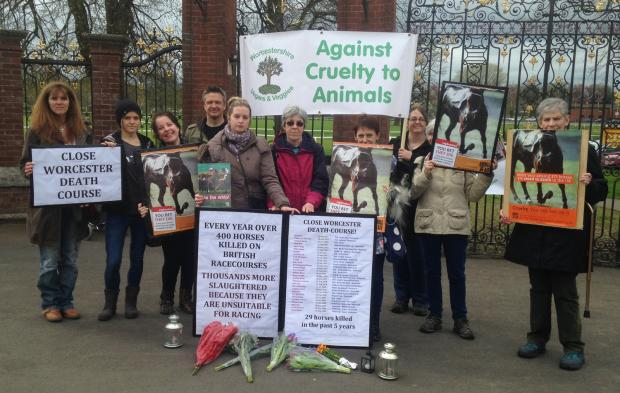 Vegans and veggies at a PAST protest outside Worcester Racecourse