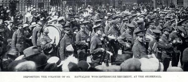 A ceremony for the depositing the Colours of the 8th Battalion of the Worcestershire Regiment at the Shirehall, Worcester in August 1914.