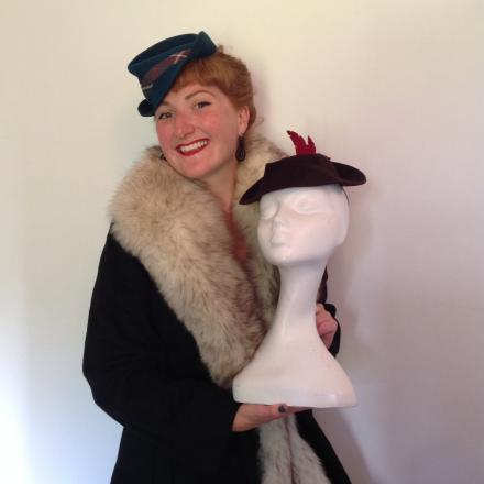 Clare Bridge in costume with a handmade 1940s style hats to be used in the show.