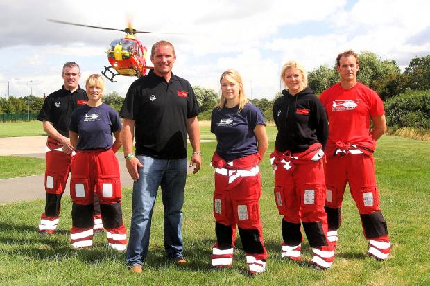 Phil Vickery with members of the Midlands Air Ambulance Charity.