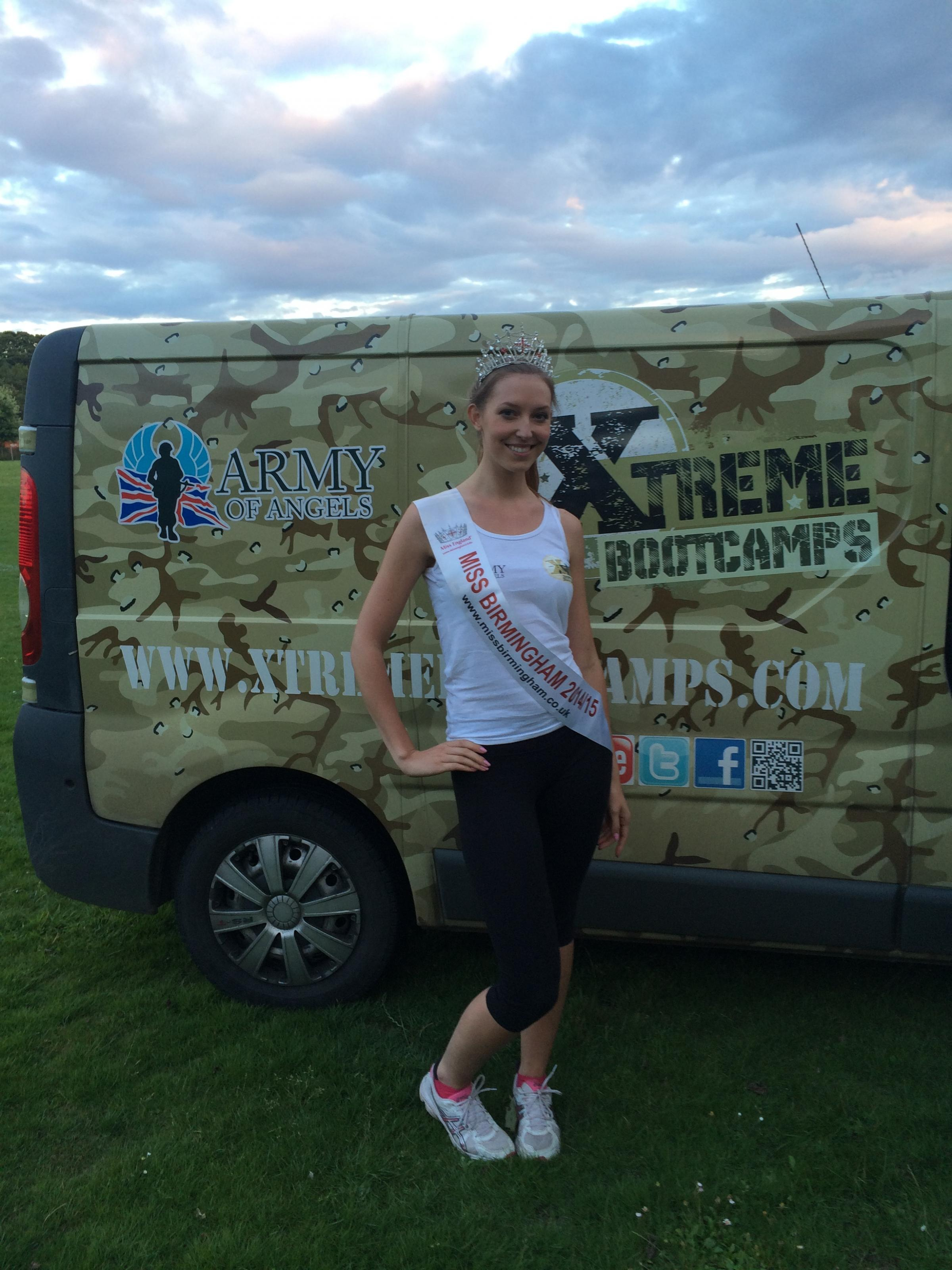 Miss Birmingham, Katie Stamp, is getting race ready with a Worcester boot camp.