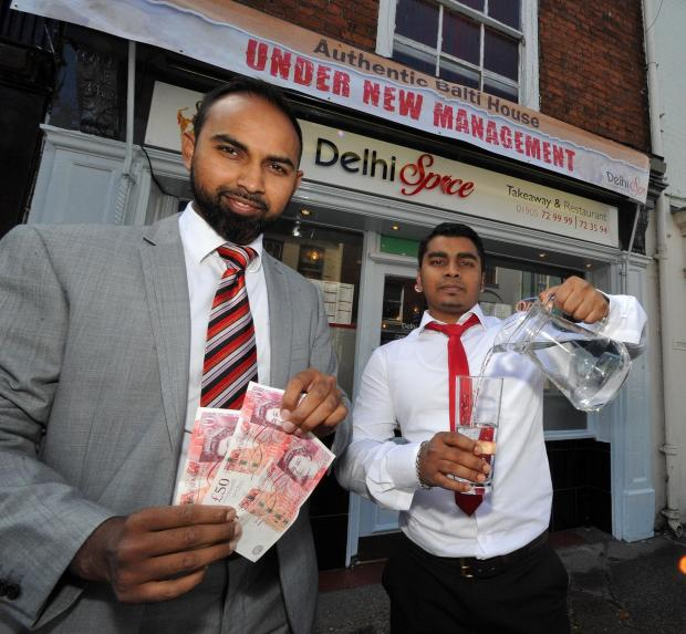 John Anyon     19/8/14       3414678601  Co-owners of the new Delhi Spice Balti House on the Tything, Shiraj Miah and Khalad Khan are donating £1 from each bill paid in the restaurant to the charity Fresh Water Appeal that helps people in Bangladesh
