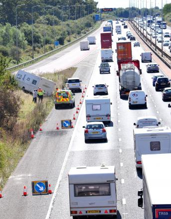 JACK-KNIFED: Slow traffic on M5 south bound, at Junction 6, due to the jack-knifed caravan caravan