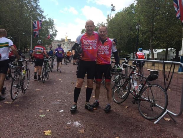 David and Matthew Toye in The Mall at the end of their gruelling cycle challenge