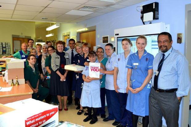 The team on ward 10 at the Alexandra Hospital receiving their Big Thank You with Penny Venables