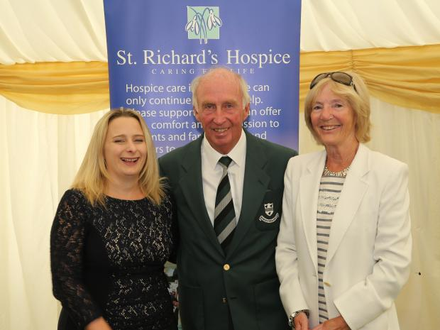 SUCCESS:  Rachel Jones of St Richard's Hospice, Worcestershire CCC president John Elliott and his wife Marjorie.