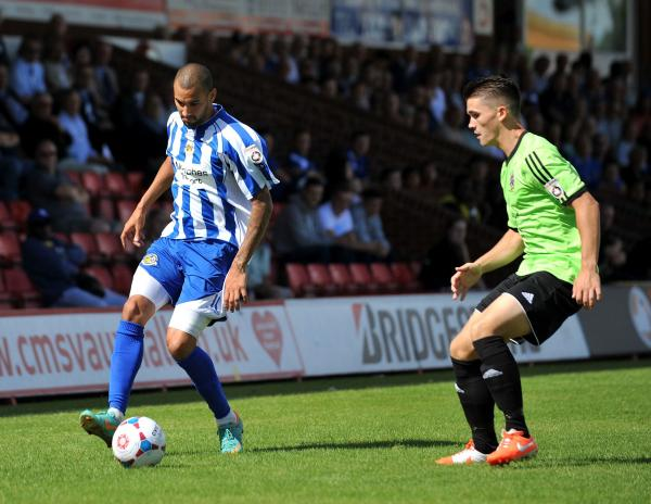 LOOKING FOR GOALS: Striker Nick Wright (left) is happy to be back in Worcestershire with Worcester City after leaving Kidderminster Harriers in 2012.
