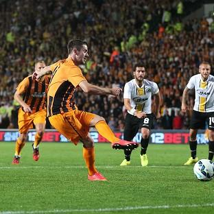 Robbie Brady, second from left, scores Hull's second goal f