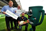 John Anyon     28/8/14     3514686401  Launch of Macmillan Cancer Support grand coffee morning due to take place on Friday September 26th..........Worcester Warriors Captain, Jonathan Thomas with Macmillan supporters, Nick and Simon Scott from Worcester b