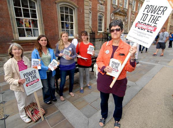 Left to right - Barbara Stanton, Sue Avery, Gala Rowley and Samm Hale with Councillor Lynn Denham who were protesting about the TTIP Trade Deal in Worcester High Street on Saturday.