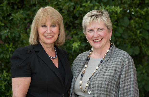 HELLO: Collaborative family lawyer Pat Beeching (right) with HallmarkHulme partner Lesley Bartlett.