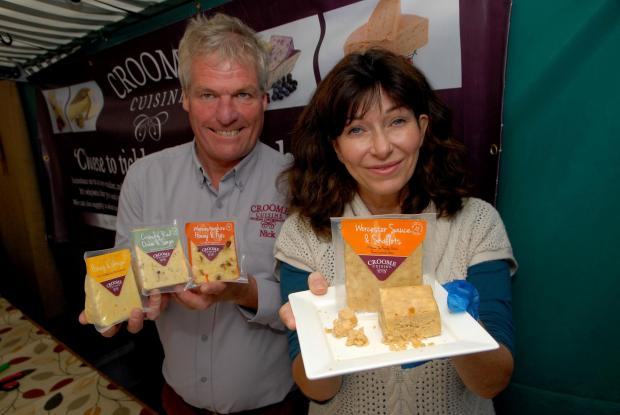 Worcester News: SAY CHEESE: Nick Hodgetts and Anita Stammers with Croome Cuisine cheeses. Picture by Paul Jackson. 4014721005